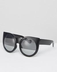 Солнцезащитные очки кошачий глаз в круглой оправе Missguided - Черный