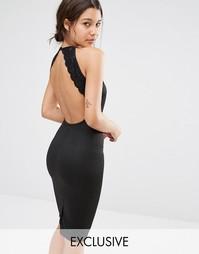 Облегающее платье с открытой спиной и кружевной отделкой Missguided