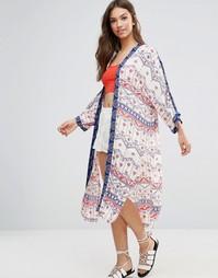 Длинное кимоно с принтом Minkpink - Кремовый многоцветный