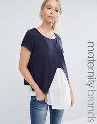 Двухслойная блузка с разрезами для кормящих мам Mamalicious Mama.Licious