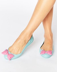 Туфли на плоской подошве мятного цвета с контрастным бантом Melissa +