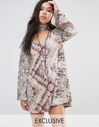 Свободное платье с длинными рукавами и абстрактным животным принтом Mi Milk It