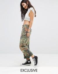 Свободные камуфляжные брюки в стиле милитари с завышенной талией Milk