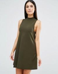 Платье-трапеция с высокой горловиной AX Paris - Хаки