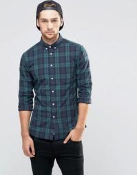 Облегающая рубашка в клетку с длинными рукавами ASOS - Темно-синий