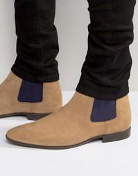 Песочные замшевые ботинки челси с контрастными вставками ASOS - Stone