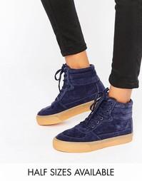 Высокие кроссовки на шнуровке ASOS DUKE - Темно-синий