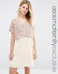 Цельнокройное платье для беременных и кормящих из фактурной ткани ASOS