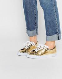 Кеды на шнуровке ASOS DIAZ - Золотой