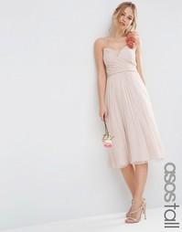 Платье миди со сборками и цветочной отделкой на плече ASOS TALL WEDDIN