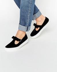Бархатные кроссовки с бантом ASOS DEBBIE - Черный