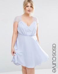 Кружевное платье мини ASOS CURVE Kate - Бледно-синий