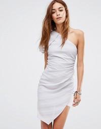 Платье мини в рубчик на одно плечо с оборкой Religion - Серый