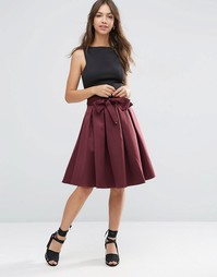 Атласная юбка для выпускного ASOS - Темно-бордовый