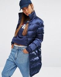 Удлиненная дутая куртка из шелковистой ткани Fila - Темно-синий