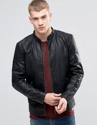 Куртка из искусственной кожи со вставками на плечах Jack & Jones