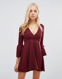 Короткое приталенное платье с оборками на рукавах Daisy Street