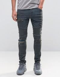 Супероблегающие рваные джинсы c заплатками и отделкой в байкерском сти Asos