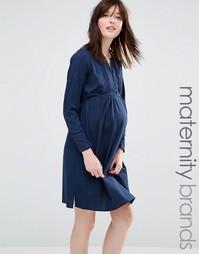 Короткое приталенное платье для беременных с плиссировкой на планке Ma Mama.Licious