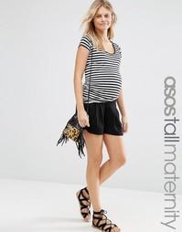 Юбка-шорты для беременных со складками ASOS Maternity TALL - Черный