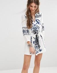 Платье мини с вышивкой Free People Anouk - Ivory combo 1006