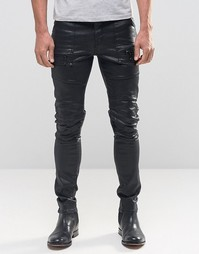 Супероблегающие джинсы в байкерском стиле с покрытием и молниями ASOS