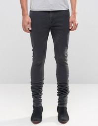 Удлиненные джинсы скинни с напылением ASOS - Черный