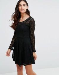 Кружевное короткое приталенное платье Pussycat London - Черный