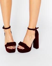 Бархатные сандалии на платформе с бантиками Senso Paige - Wine