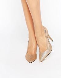 Туфли на каблуке с ремешком на пятке True Decadence - Gold glitter