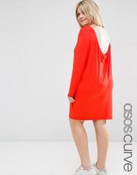 Платье мини со свободным вырезом сзади ASOS CURVE - Красный