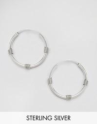 Серебряные серьги-кольца 14 мм Kingsley Ryan - Серебряный