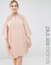 Платье-свинг с кружевной вставкой Lovedrobe - Бежевый