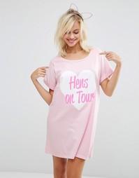 Oversize-футболка с принтом Hens On Tour ASOS BRIDAL - Мульти