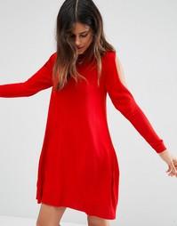 Трикотажное платье с открытыми плечами ASOS - Красный
