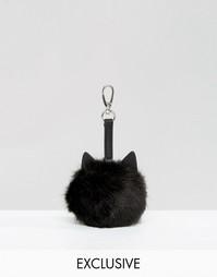 Подвеска для сумки с дизайном кошки и помпоном Skinnydip - Черный