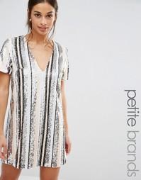 Полосатое платье мини с отделкой пайетками Missguided Petite - Мульти
