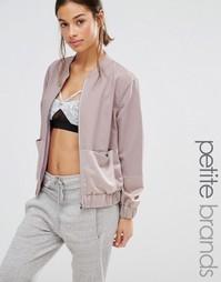 Двухцветная атласная куртка‑пилот Missguided Petite - Lilac ash