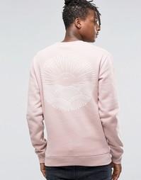 Свитшот с принтом на спине Friend or Faux - Розовый