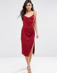 Креповое платье-сорочка миди с запахом ASOS - Темно-бордовый