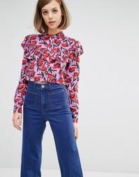 Укороченная рубашка с рюшами и абстрактным принтом Lost Ink - Розовый