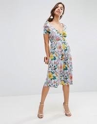 Платье миди с цветочным принтом ASOS - Многоцветный