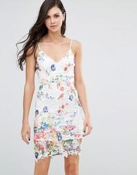 Платье на бретельках с кружевом и цветочным принтом Lipstick Boutique