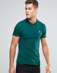 Зеленая облегающая футболка-поло из пике с логотипом ASOS - Swamp