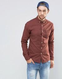 Облегающая оксфордская рубашка рыжего цвета с длинными рукавами ASOS