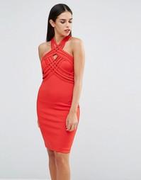 Платье с решеткой из лямок Forever Unique Jamilia - Красный
