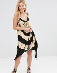 Пляжное платье мини с принтом тай-дай и отделкой монетками Anmol