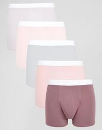 Набор из 5 розовых боксеров-брифов ASOS - СКИДКА 28% - Розовый
