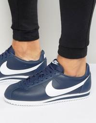 Синие кожаные кроссовки Nike Classic Cortez 749571-414 - Синий