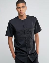 Черная рубашка в стиле милитари без воротника с короткими рукавами ASO Asos